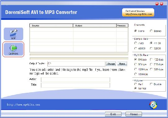 Convert avi fiels to MP3 files with one click